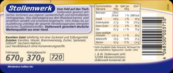 Karotten-Salat Streifen  - Etikett