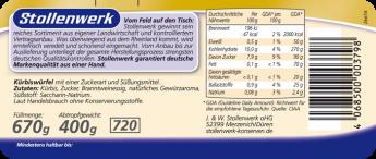 Kürbiswürfel süß-sauer, aromatisch - Etikett