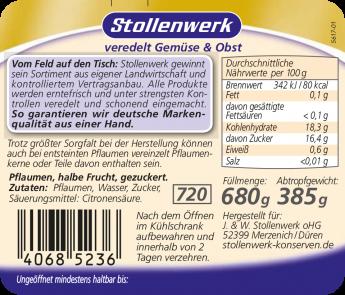 Pflaumen halbe Frucht, gezuckert - Etikett