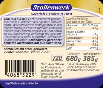 Mirabellen mit Stein, gezuckert - Etikett
