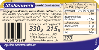 Junge große Bohnen weiße Kerne - Etikett