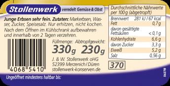 Junge Erbsen sehr fein - Etikett