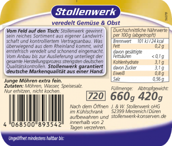 Junge Möhren extra fein - Etikett