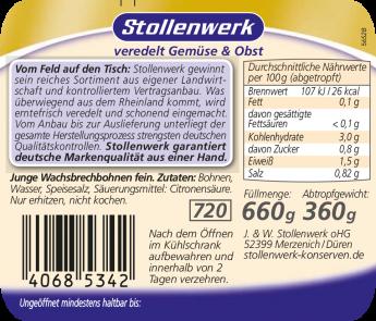 Wachsbrechbohnen jung und fein - Etikett