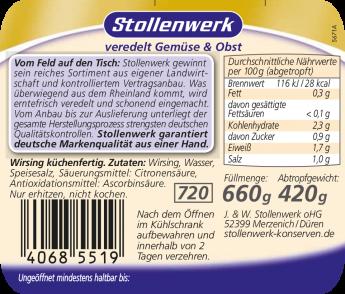 Wirsing küchenfertig - Etikett