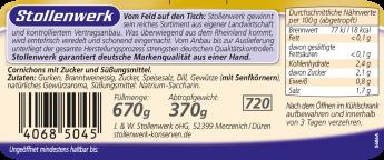 Cornichons süß-sauer, knackig frisch - Etikett
