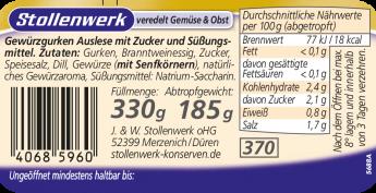 Gewürzgurken Auslese süß-sauer, knackig frisch - Etikett