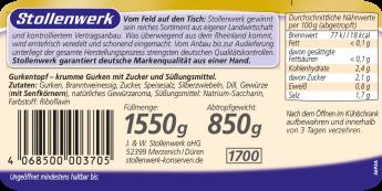 Gurkentopf pikant süß-sauer, mit vielen Gewürzen eingelegt - Etikett