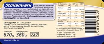 Gewürzgurken würzig-pikant, ohne Zuckerzusatz - Etikett