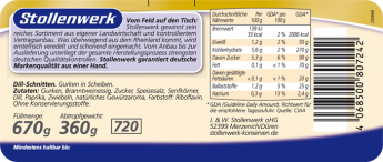 Dill-Schnitten würzig-pikant - Etikett