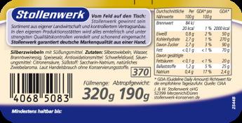 Silberzwiebeln süß-sauer, pikant - Etikett