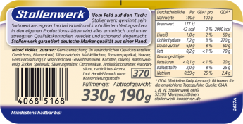 Mixed Pickles würzig-pikant - Etikett