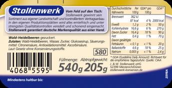 Wald-Heidelbeeren gezuckert - Etikett