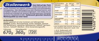 Gurkensticks süß-sauer, würzig-pikant - Etikett