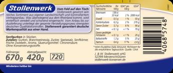 Senfgurken würzig-mild eingelegt - Etikett
