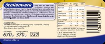 Salzdillgurken naturtrüb, fein gewürzt - Etikett