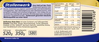 Rote-Bete Scheiben pikant gewürzt mit frischen Zwiebeln - Etikett