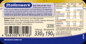 Bohnen-Salat würzig-pikant - Etikett