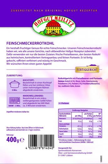 Feinschmecker-Rotkohl mit köstlichen Preiselbeeren und Portw mit köstlichen Preiselbeeren und Portwein - Etikett