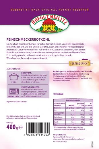 Feinschmecker-Rotkohl mit fruchtigen Cranberries und Marsala mit fruchtigen Cranberries und Marsala - Etikett