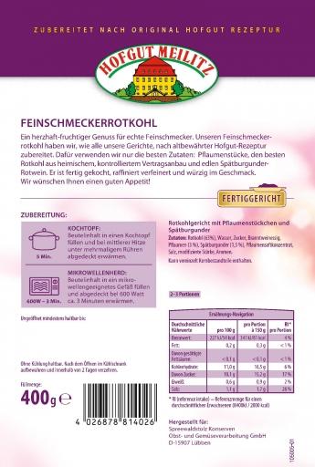 Feinschmecker-Rotkohl mit Pflaumenstückchen und Spätburgunde mit Pflaumenstückchen und Spätburgunder-Rotwein - Etikett