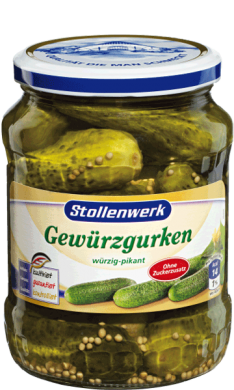 Pickled gherkins spicy, without sugar - tin