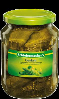 Schleiermachers Gurken  würzig-pikant mit krummen Gurken - Konserve