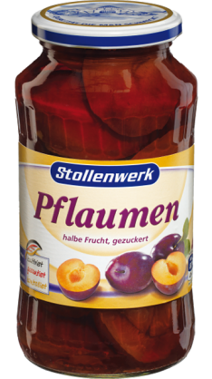 Pflaumen  half fruit, in syrup - tin