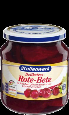 Rote-Bete Scheiben pikant gewürzt mit frischen Zwiebeln - Konserve