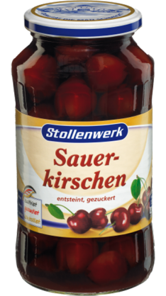 Sour cherries pitted, in syrup - tin