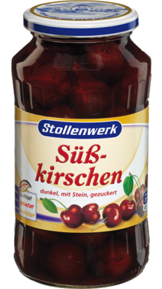 Sweet cherries dark, with stone in syrup - tin