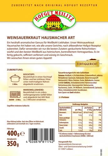 Weinsauerkraut Hausmacher Art mit geräucherten Rohschinkenwü mit geräucherten Rohschinkenwürfeln - Etikett