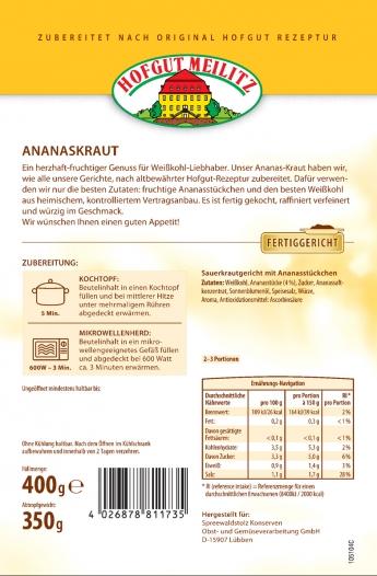 Ananaskraut mit fruchtigen Ananasstückchen mit fruchtigen Ananasstückchen - Etikett