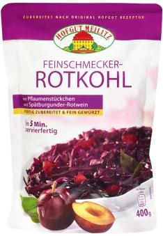 Feinschmecker-Rotkohl mit Pflaumenstückchen und Spätburgunde mit Pflaumenstückchen und Spätburgunder-Rotwein - Konserve