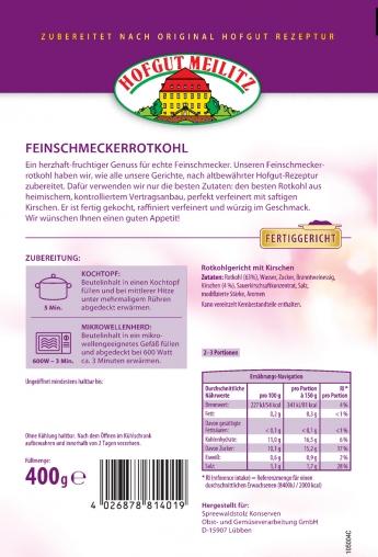 Feinschmecker-Rotkohl mit saftigen Kirschen mit saftigen Kirschen - Etikett