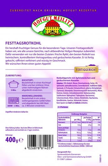 Festtags-Rotkohl mit Apfelstückchen und geräuchertem Kassele mit Apfelstückchen und geräuchertem Kasseler - Etikett