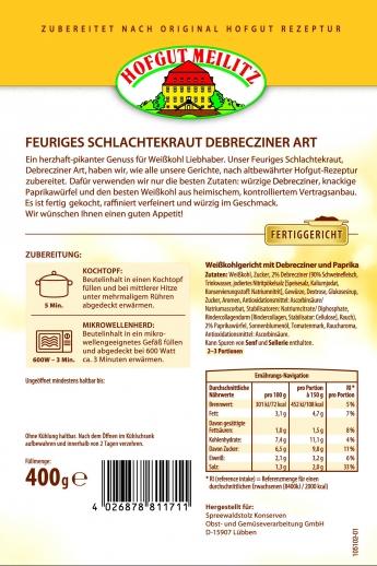 Feuriges Schlachterkraut mit Debrecziner und Paprikawürfel mit Debrecziner und Paprikawürfel - Etikett
