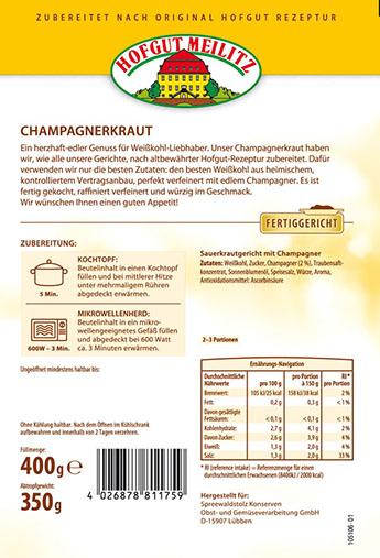 Champagnerkraut  Sauerkraut mit Champagner - Etikett