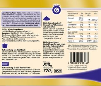 Wein-Sauerkraut mild und mit Weißwein fein abgeschmeckt - Etikett
