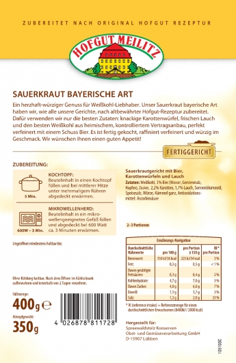 Sauerkraut Bayerische Art mit Bier, Karottenwürfeln und Lauc mit Bier, Karottenwürfeln und Lauch - Etikett