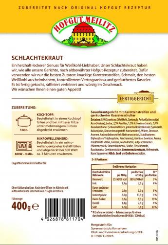 Schlachterkraut mit Karottenstreifen, Schmalz und geräuchert mit Karottenstreifen, Schmalz und geräucherter Kasselerschul - Etikett