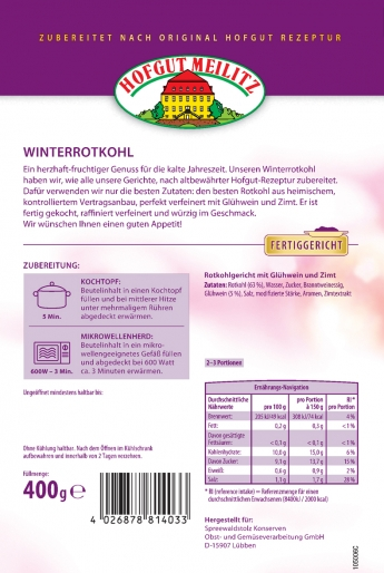 Winter-Rotkohl mit Glühwein und Zimt - Etikett